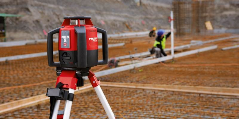 laser level outdoors
